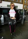 Paris Hilton in white sheer t-shirt in London